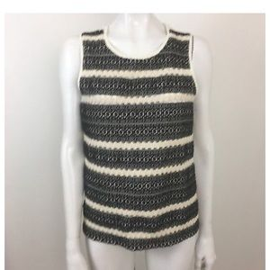 Lucky Brand Open Knit Front Top Size M